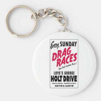 Vintage Holt Drive Drag Races sign Keychain