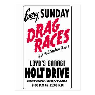 Vintage Holt Drive Drag Races sign Postcard