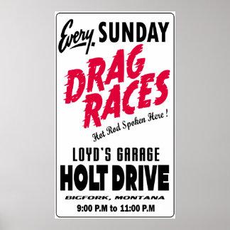 Vintage Holt Drive Drag Races sign white Poster