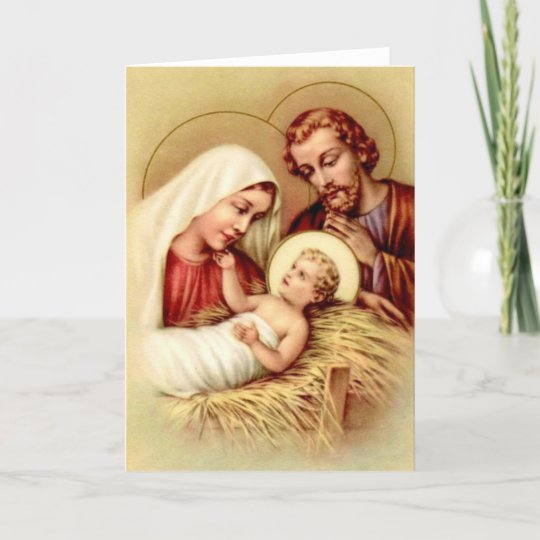 Vintage Holy Family Christmas Greeting Card | Zazzle.com