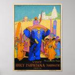 Vintage Holy Isipatana India Dorothy Newsom Travel Poster