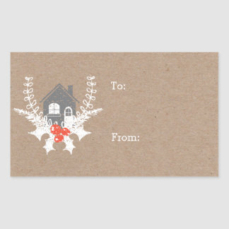 Vintage Home for the Holidays Gift Tag Sticker
