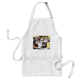Vintage Home Interior, Mom in the Kitchen Cooking Adult Apron