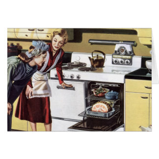 Vintage Home Interior, Mom in the Kitchen Cooking Card