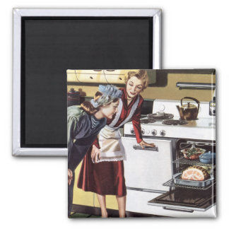 Vintage Home Interior, Mom in the Kitchen Cooking Magnet