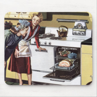 Vintage Home Interior, Mom in the Kitchen Cooking Mouse Pad