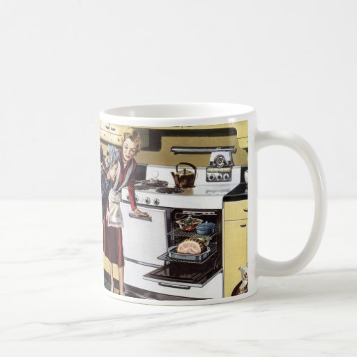 Vintage Home Interior, Mom in the Kitchen Cooking Coffee Mugs