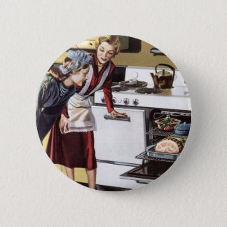 Vintage Home Interior, Mom in the Kitchen Cooking Pinback Button