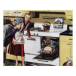 Vintage Home Interior, Mom in the Kitchen Cooking Print