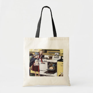 Vintage Home Interior, Mom in the Kitchen Cooking Tote Bag