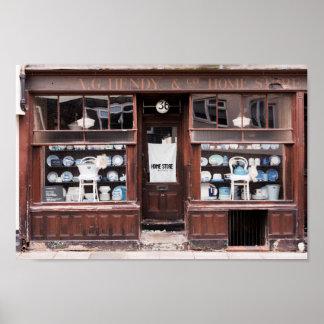 vintage home store shop front poster