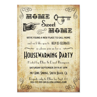 "Vintage ""Home Sweet Home"" Housewarming Invitations"