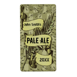 Vintage HomeBrewed Beer Label Scroll Beige