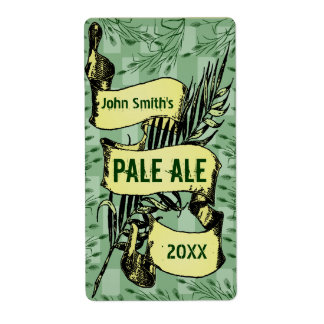 Vintage HomeBrewed Beer Label Scroll Green