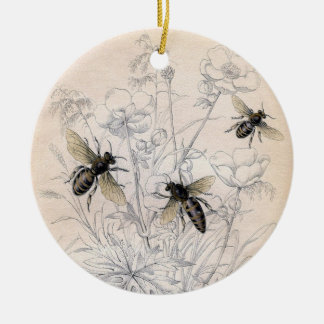 Vintage Honey Bee Art Print Ceramic Ornament