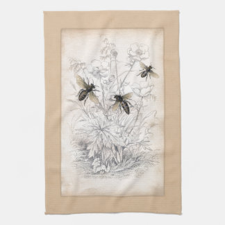Vintage Honey Bee Art Print Kitchen Towel
