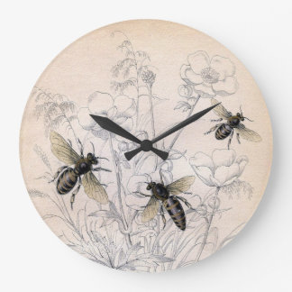 Vintage Honey Bee Art Print Large Clock