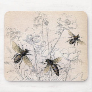 Vintage Honey Bee Art Print Mouse Pad