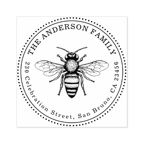 Vintage Honey Bee Family Name Round Return Address Rubber Stamp