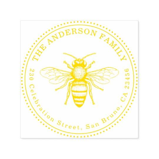 Vintage Honey Bee Family Name Round Return Address Self Inking Stamp
