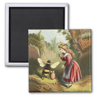 Vintage Honey Bee With Girl Magnet