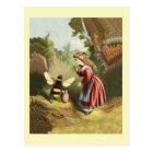 Vintage Honey Bee With Girl Postcard