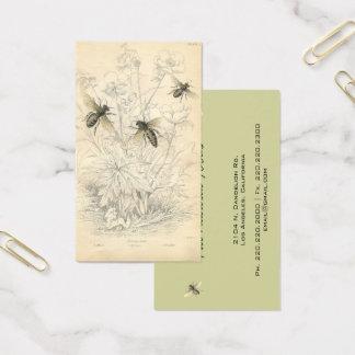 Vintage Honey Bees Drawing, Custom Business Card