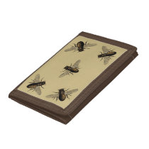 Vintage Honey Bees Yellow Beige Trifold Wallet