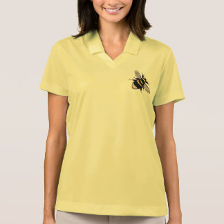 Vintage Honey Flying Bumble Buzzing Bee Print Polo T-shirts