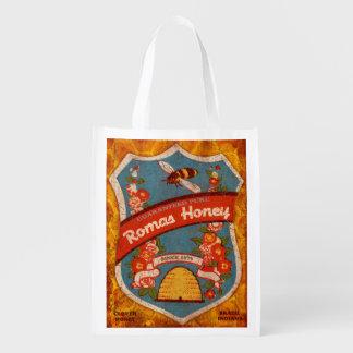 Vintage Honey Label, Romas Honey, grocery bag