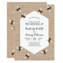Vintage Honeybee Burlap Wedding Invitation