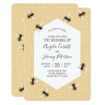 Vintage Honeybee Wedding Invitation