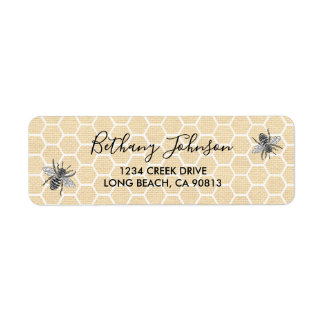 Vintage Honeycomb Honey Bee Label