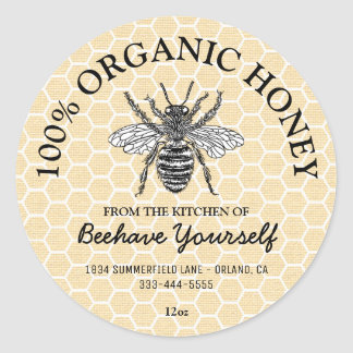 Vintage Honeycomb Honeybee Honey Classic Round Sticker