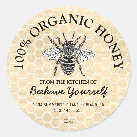 Vintage Honeycomb Honeybee Honey Classic Round Sticker Zazzlecom
