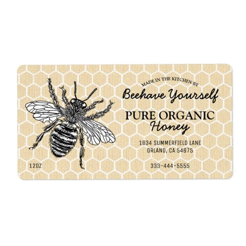 Vintage Honeycomb Honeybee Honey Label