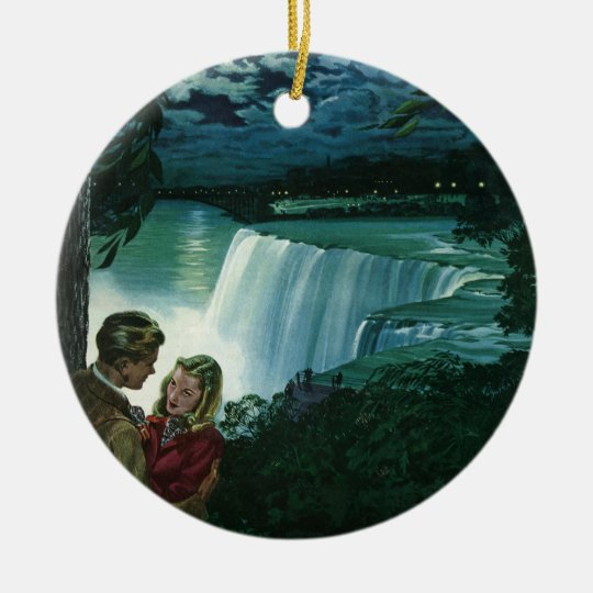 Vintage Honeymoon Love, Newlyweds at Niagara Falls Ceramic Ornament