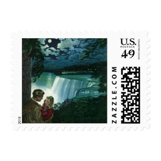 Vintage Honeymoon Love, Newlyweds at Niagara Falls Postage