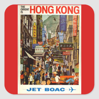 Vintage Hong Kong Airline Travel Advertisement Square Sticker