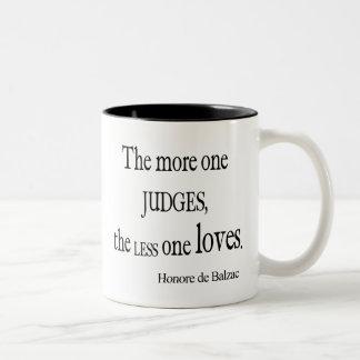 Vintage Honore Balzac More Judge Less Love Quote Two-Tone Coffee Mug