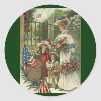 Vintage Honoring Memorial Day Classic Round Sticker