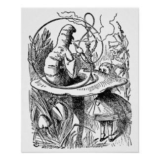 Vintage Hookah Smoking Caterpillar with Alice Print