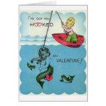 Vintage Hooked Mermaid Valentine's Day Card