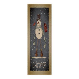 Vintage Hope Snowman Poster