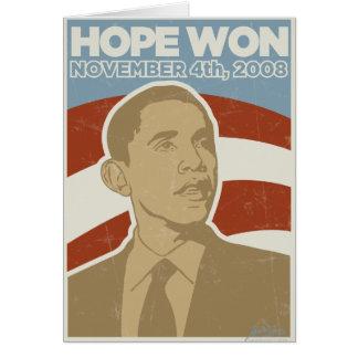 """Vintage """"Hope Won"""" Obama Greeting Card"""