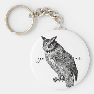 Vintage Horned Owl Basic Round Button Keychain