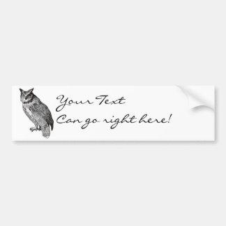 Vintage Horned Owl Car Bumper Sticker