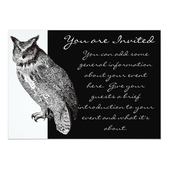 Vintage Horned Owl Card