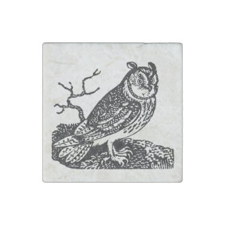 Vintage Horned Owl Personalized Halloween Owls Stone Magnet