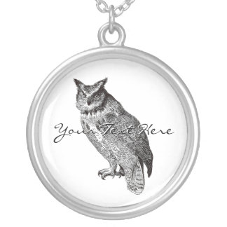 Vintage Horned Owl Silver Plated Necklace